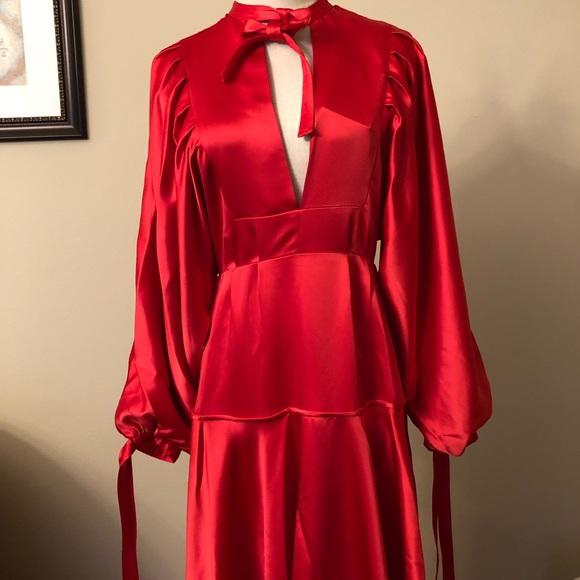 d5dbd33e1bd6 Self-Portrait Dresses | Self Portrait Satin Midi Dress Red | Poshmark